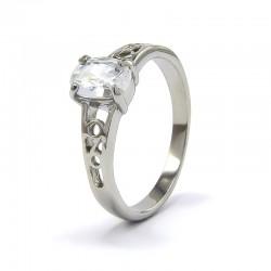 Fehér cirkónia kővel díszített elegáns nemesacél gyűrű