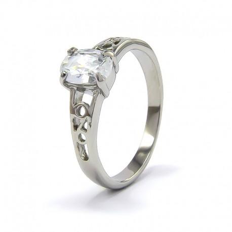 nemesacél gyűrű Fehér cirkónia kővel díszített elegáns
