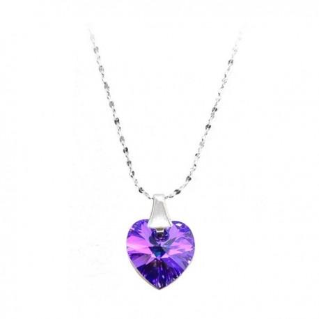 ezüst nyaklánc Sötétlila Swarovski kristályos szív medál, ezüst