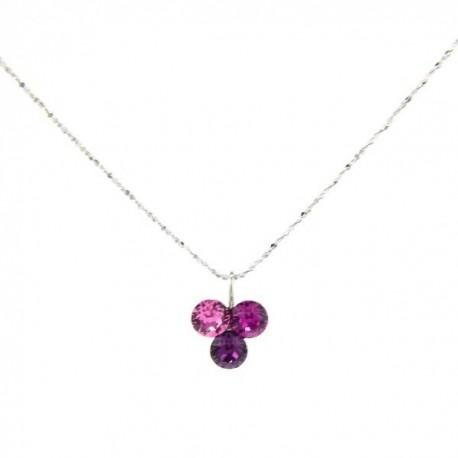 ezüst nyaklánc Pink szeder Swarovski kristályos medál, ezüst