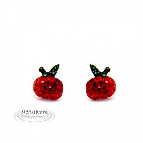 ezüst fülbevaló Piros kristályos ezüst alma fülbevaló