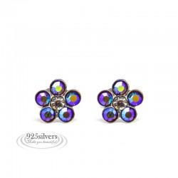 925 ezüst, Swarovski kristályos, szivárvány virág fülbevaló