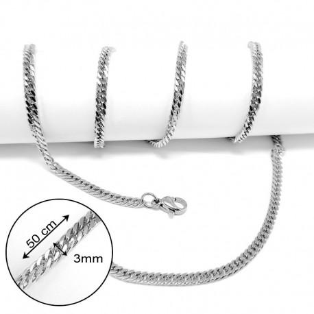 nemesacél nyaklánc Laposszemes nyaklánc nemesacélból (50 cm)