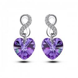 Infinity, lila Swarovski kristályos szív függő