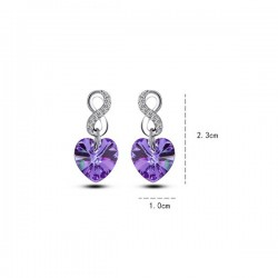 kristályos fülbevaló Infinity, lila Swarovski kristályos szív