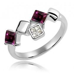 Elegáns, négyzet alakú kövekkel díszített gyűrű - sötétlila