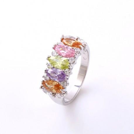 kristályos gyűrű Színes cirkónia köves gyűrű, ródium bevonattal