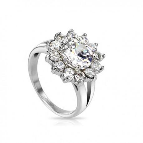 nemesacél gyűrű Cirkónia virágos nemesacél gyűrű