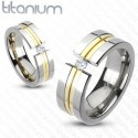 nemesacél gyűrű Arany sávos titánium gyűrű