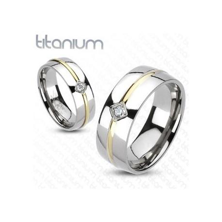 nemesacél gyűrű Titánium gyűrű zircon kővel