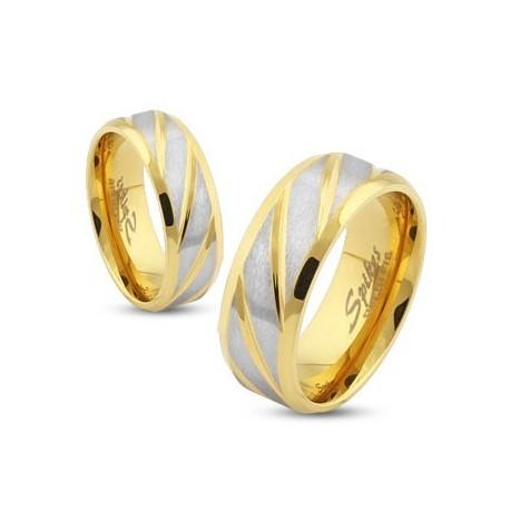 nemesacél gyűrű Arany-ezüst színű gyűrű nemesacélból
