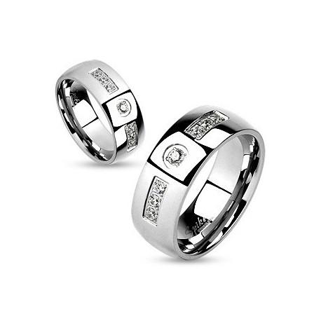 nemesacél gyűrű Cirkónia sávos nemesacél gyűrű