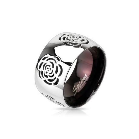 nemesacél gyűrű Rózsa mintás nemesacél gyűrű - bordó