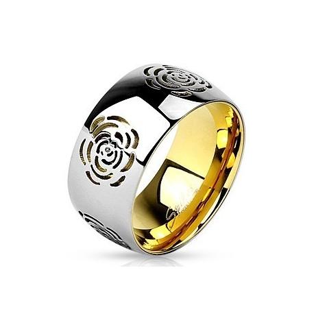 nemesacél gyűrű Rózsa mintás nemesacél gyűrű - arany