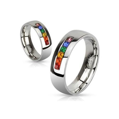 nemesacél gyűrű Színes kristályos nemesacél gyűrű