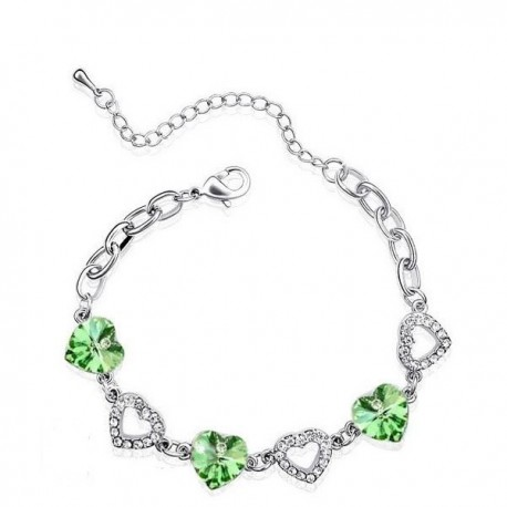 Zöld Swarovski kristályos szíves karkötő