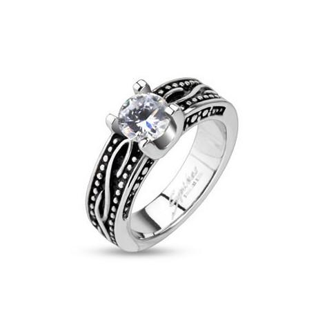 nemesacél gyűrű Törzsi mintás nemesacél gyűrű - fekete