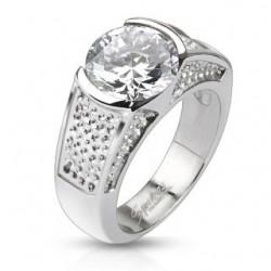 Nagy köves nemesacél gyűrű