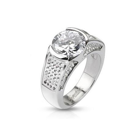 nemesacél gyűrű Nagy köves gyűrű nemesacélból
