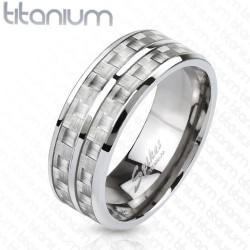 Dupla soros titánium gyűrű karbon betéttel