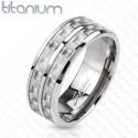 nemesacél gyűrű Dupla soros titánium gyűrű karbon betéttel