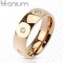 nemesacél gyűrű Titánium gyűrű CZ kristályokkal, arany