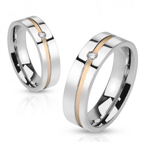 nemesacél gyűrű Aranyozott sávos nemesacél gyűrű, cirkóniával