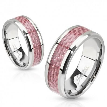 nemesacél gyűrű Nemesacél gyűrű rózsaszín karbon betéttel