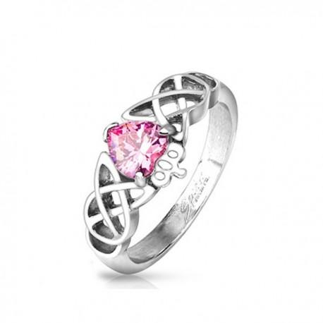 nemesacél gyűrű Szív kristályos nemesacél gyűrű