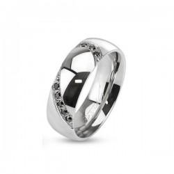 Fekete köves férfi nemesacél karikagyűrű