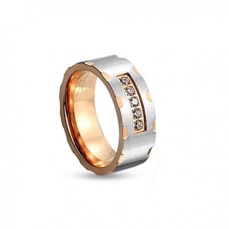 páros karikagyűrű Női karikagyűrű nemesacélból - kéttónusú