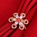 kristályos gyűrű Színes cirkóniavirág, rózsaaranyozott gyűrű