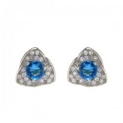 925 ezüst háromszög fülbevaló kék-fehér kristályokkal