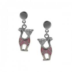 ezüst fülbevaló Színes cica fülbevaló 925 ezüstből
