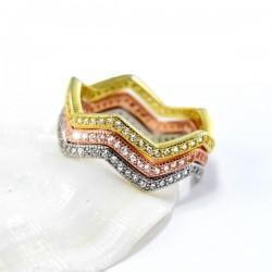 ezüst gyűrű Hullámos, 3 részes ezüst gyűrű cirkónia kövekkel