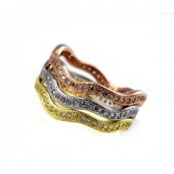 CZ köves, 3 részből álló hullámos ezüst gyűrű