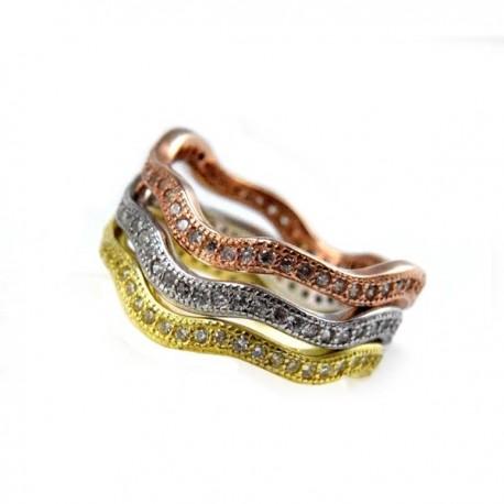 ezüst gyűrű CZ köves, 3 részből álló hullámos ezüst gyűrű