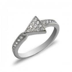ezüst gyűrű Háromszög ezüst gyűrű CZ kövekkel