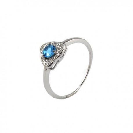 ezüst gyűrű Háromszög gyűrű ezüstből, tengerkék cirkónia kővel