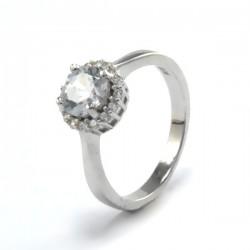 Elegáns gyűrű ezüstből, fehér cirkónia kővel