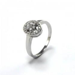 Elegáns, cirkónia virágos gyűrű - ovális