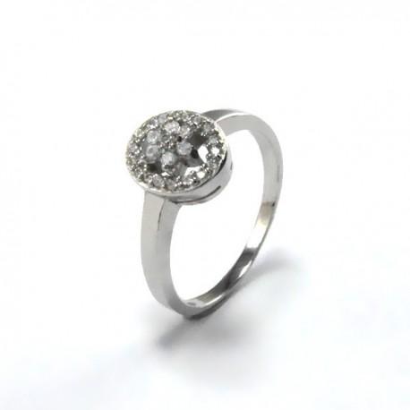 ezüst gyűrű Elegáns, cirkónia virágos gyűrű - ovális