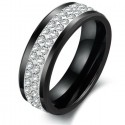 Exkluziv kerámia gyűrű CZ kristállyal díszítve - Fekete