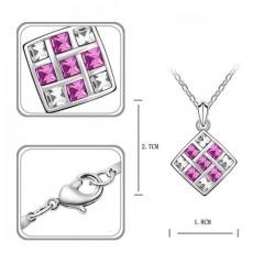 kristályos nyaklánc Elegáns mozaik nyaklánc rózsaszín kövekkel