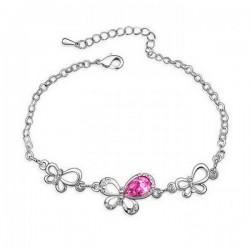 Rózsaszín kristályos pillangós karkötő