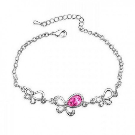 Pink Swarovski kristályos pillangós karkötő