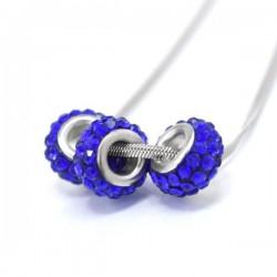 kristályos nyaklánc Kék kristálykarikák nemesacél láncon