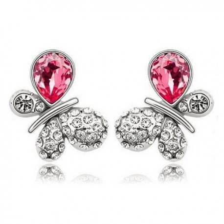 kristályos fülbevaló Rózsaszín kristályos pillangó fülbevaló