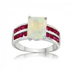ezüst gyűrű 925 ezüst gyűrű rubinnal és opál kővel