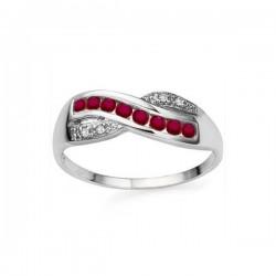 ezüst gyűrű 925 ezüst gyűrű rubinnal és CZ kristályokkal